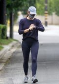 Jennifer Garner takes an early morning walk with a friend in Brentwood, California