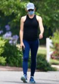 Jennifer Garner wears a tank top and leggings while out for a walk in Los Angeles