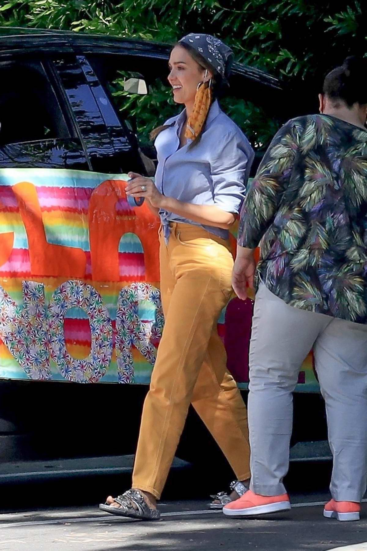 Jessica Alba celebrates Honor's graduation 'drive-by' style with her husband in Beverly Hills, California