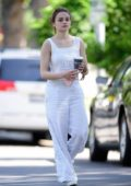 Joey King looks great in a striped white jumpsuit while out for an afternoon coffee in Los Angeles