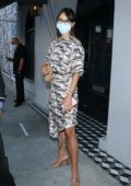 Jordana Brewster seen wearing a mask as she leaves Craig's after dinner in West Hollywood, California