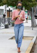 Jordana Brewster steps out with her kids and her dog to get some coffee at Blue bottle cafe in Brentwood, California