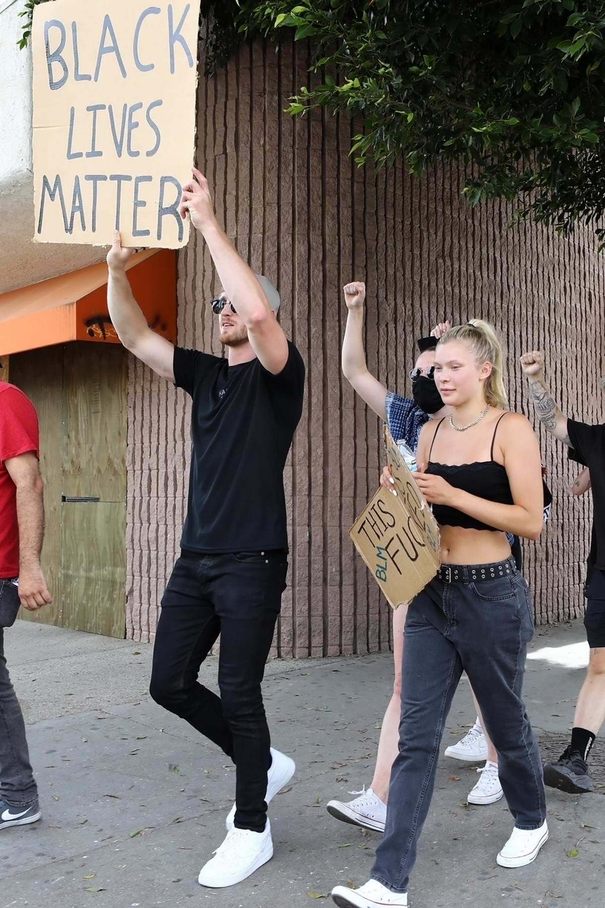 Josie Canseco seen protesting with Logan Paul in Hollywood, California