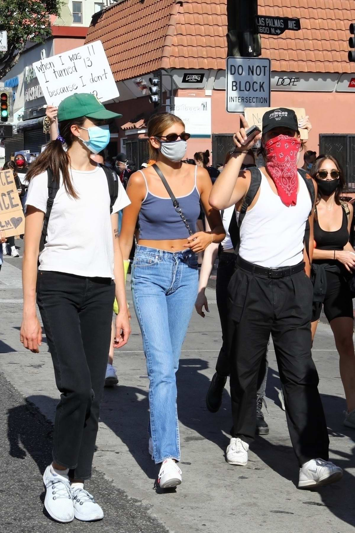 Kaia Gerber, Margaret Qualley, Eiza Gonzalez, and Madelaine Petsch march at the 'Black Lives Matter' protest in Los Angeles
