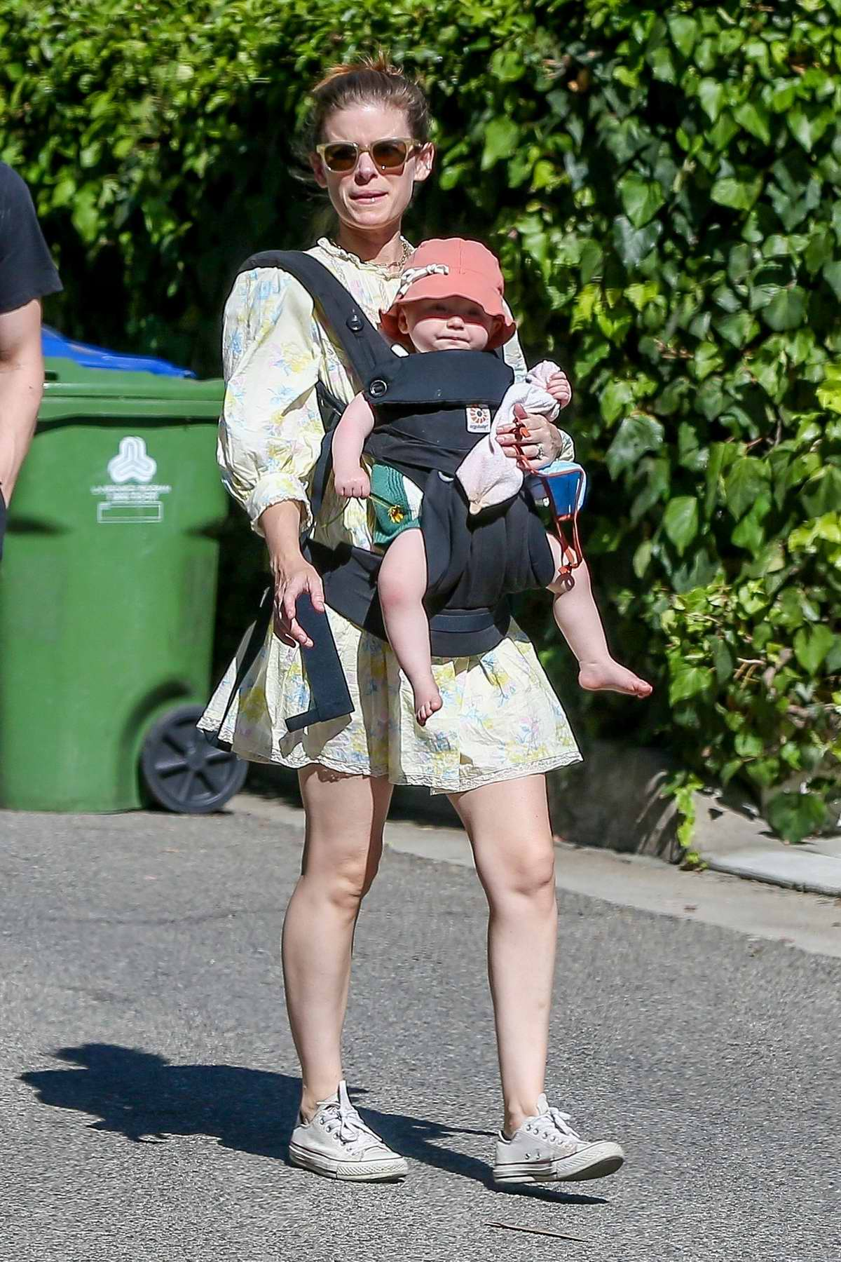 Kate Mara and Jamie Bell take their kids out for a walk around their neighborhood in Los Feliz, California