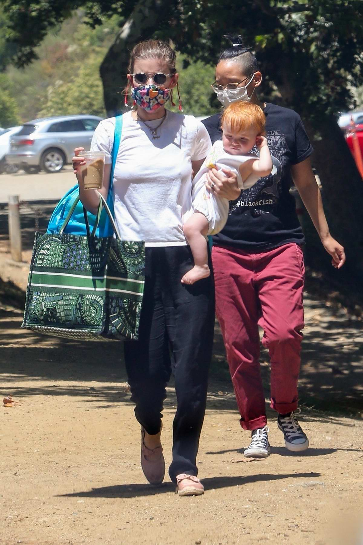 Kate Mara takes her baby to the park in Los Feliz, California