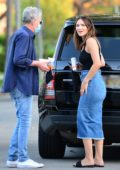 Katharine McPhee looks great in a black top and denim skirt as she leaves a friend's house in West Hollywood, California