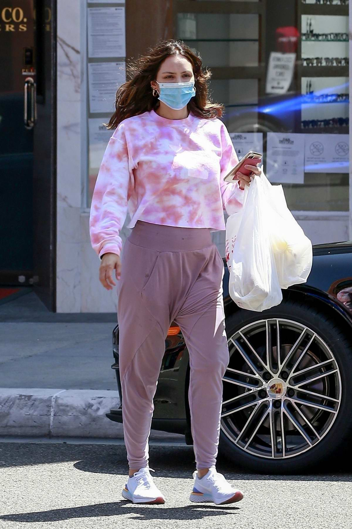 Katharine McPhee wears a tie-dye top as she steps out to pick up a food order in Beverly Hills, California