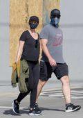 Katherine Schwarzenegger and Chris Pratt go out for a morning walk in Santa Monica, California