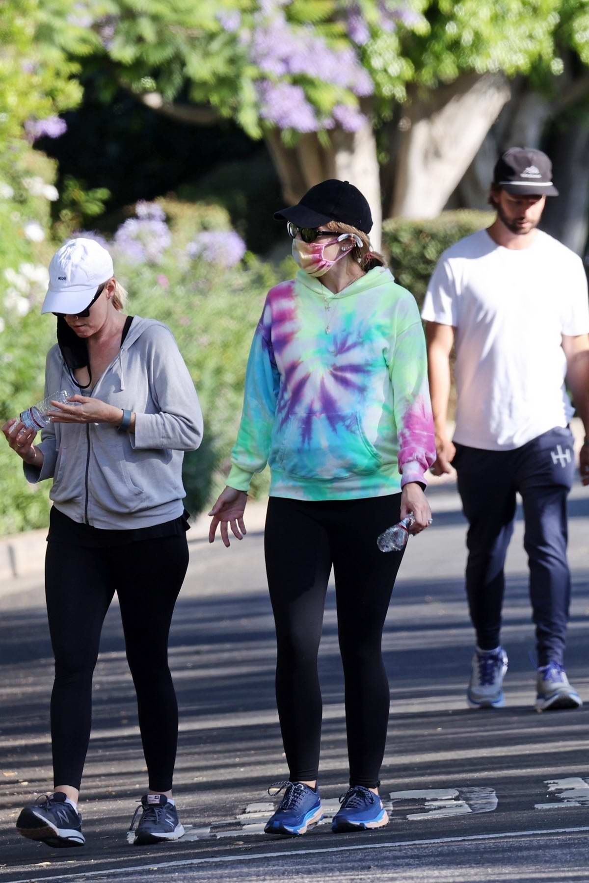 Katherine Schwarzenegger enjoys a family walk with her brother Patrick Schwarzenegger and sister Christina in Los Angeles