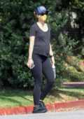 Katherine Schwarzenegger sports all-black while out for a morning walk with a friend in Santa Monica, California