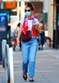 Katie Holmes wears a face mask as she steps out to meet a friend over coffee in New York City