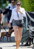 Kelly Brook puts on a leggy display in denim cut-offs while out for a walk with Jeremy Parisi in London, UK