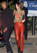 Kendall Jenner meets up with Kylie Jenner for a dinner date with friends at Nobu in Malibu, California