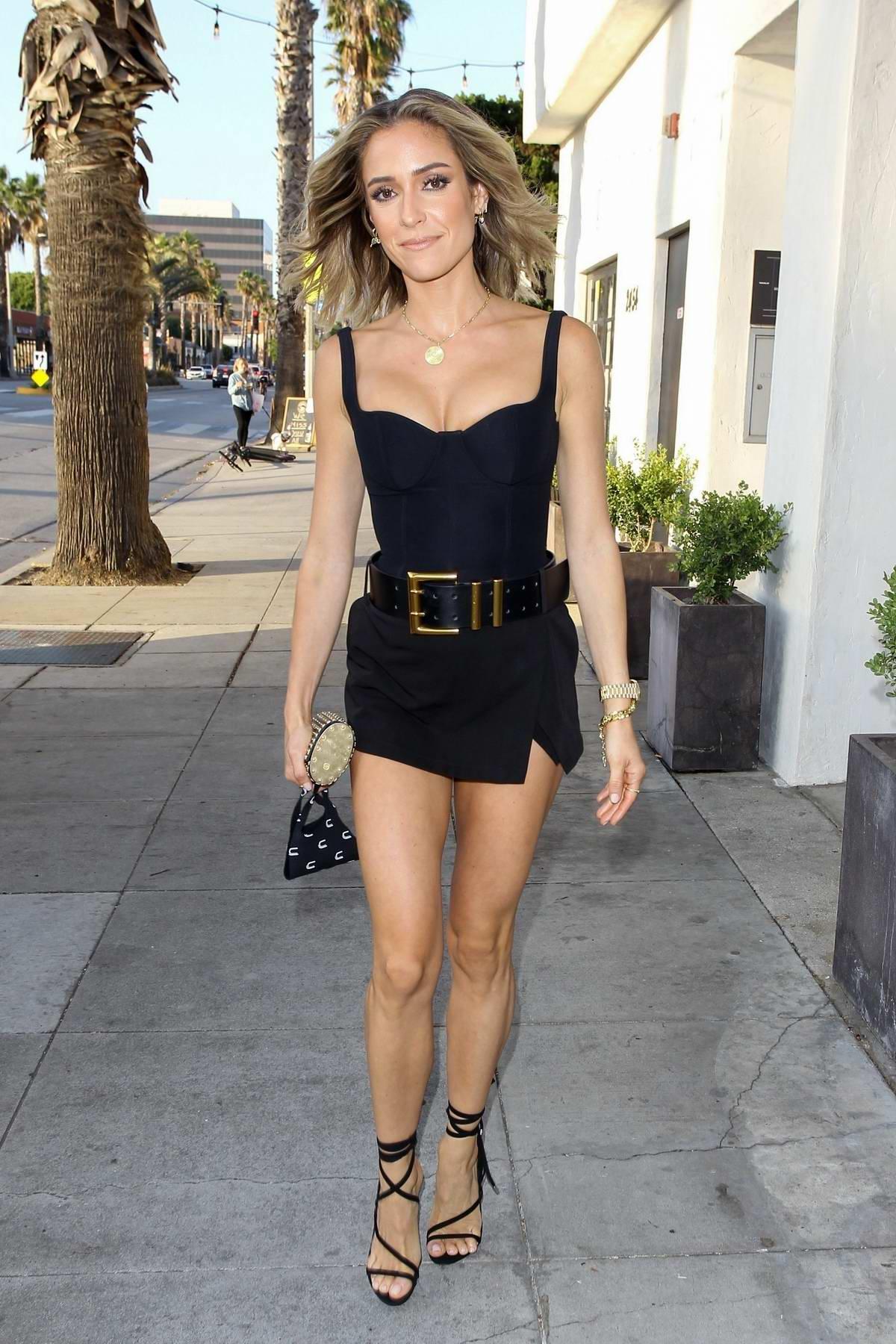 Kristin Cavallari looks stunning in a black mini dress while out for dinner at Fia in Santa Monica, California