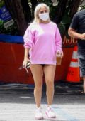 Lady Gaga flaunts her legs while making a coffee run with boyfriend Michael Polansky in the Hollywood Hills, California