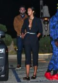 Lais Ribeiro and Joakim Noah head out after dinner with friends and her son at Nobu in Malibu, California