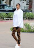 Lais Ribeiro dresses down in a hoodie and sweatpants during a family dinner outing at Cafe Habana in Malibu, California