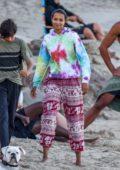 Lais Ribeiro enjoys a beach day with fiancé Joakim Noah in Malibu, California