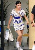 Lucy Hale looks cute in a tie-dye mini dress while shopping at Sweet Flower Marijuana Dispensary in Studio City, California