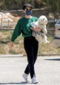 Lucy Hale makes a trip to the dog park with her dog Elvis in Studio City, California