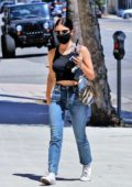 Lucy Hale sports a black cropped tank top and jeans while running a few errands in Los Angeles