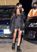 Madison Beer looks stylish in a black mini dress during a night out at Nobu in Malibu, California