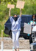 Madison Beer shows her support to 'Black Lives Matters' on a peaceful protest in Malibu, California