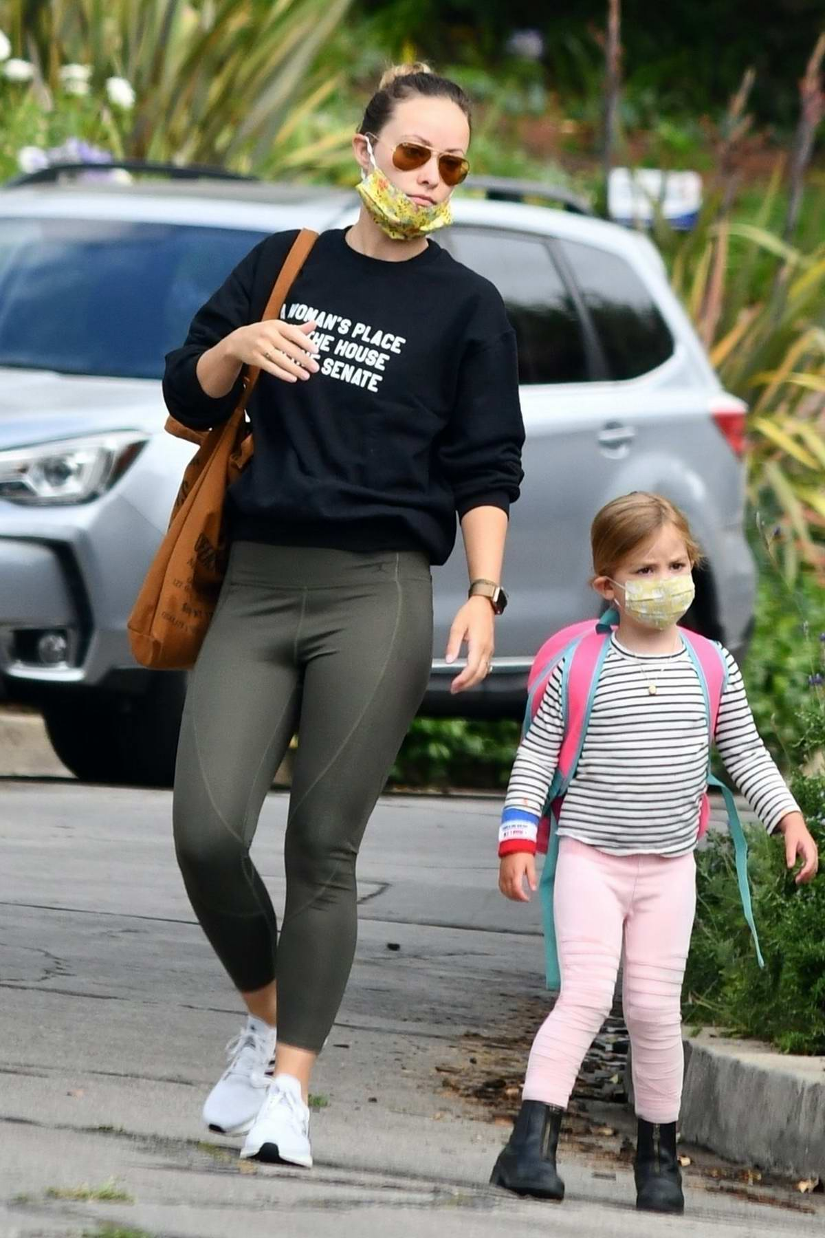 Olivia Wilde takes her kids to a reading club in Silverlake, California