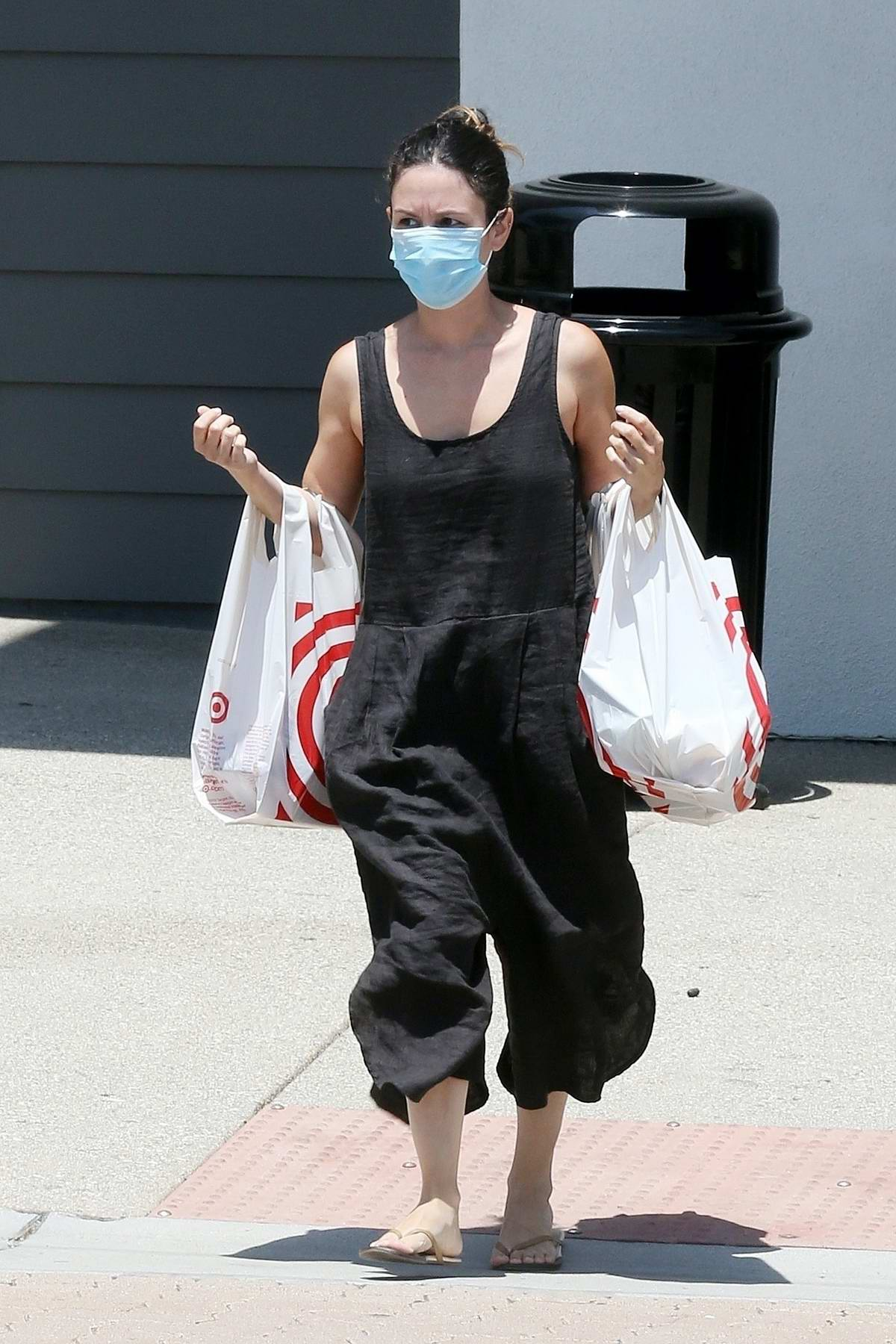 Rachel Bilson dons a black baggy jumpsuit for a shopping trip to Target in Los Angeles