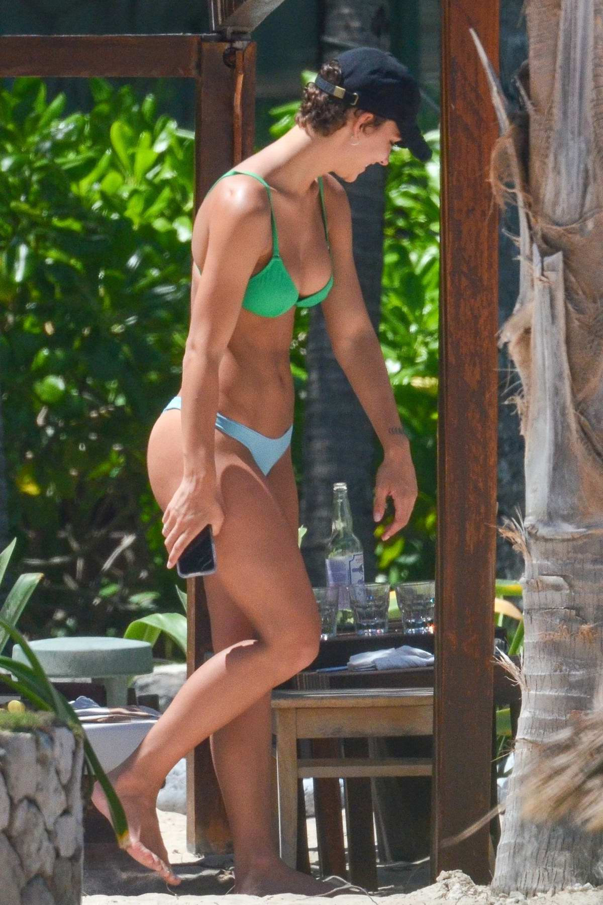 Rachel Cook spotted in a green and blue bikini as she relaxes while on vacation in Tulum, Mexico