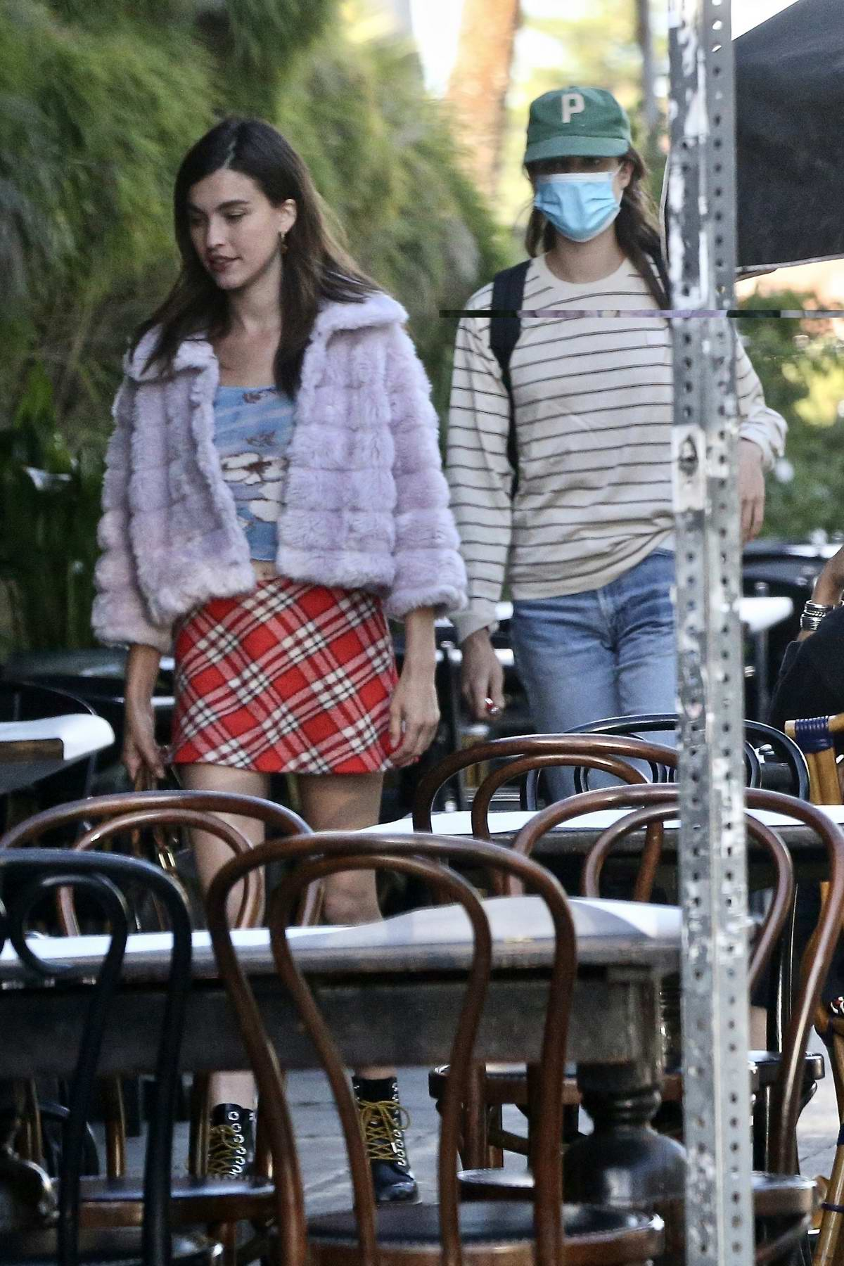 Rainey and Magaret Qualley have dinner with Cole Sprouse and Madelaine Petsch in Hollywood, California