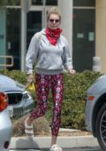 Rebecca Romijn spotted in floral print leggings and a hoodie as she leaves Excel urgent care in Calabasas, California