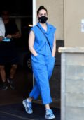 Rumer Willis steps out in a cool pair of Yeezy sneakers and a blue jumpsuit in Los Angeles
