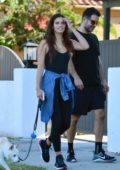 Sara Sampaio steps out to walk her dog with some friends in Los Angeles