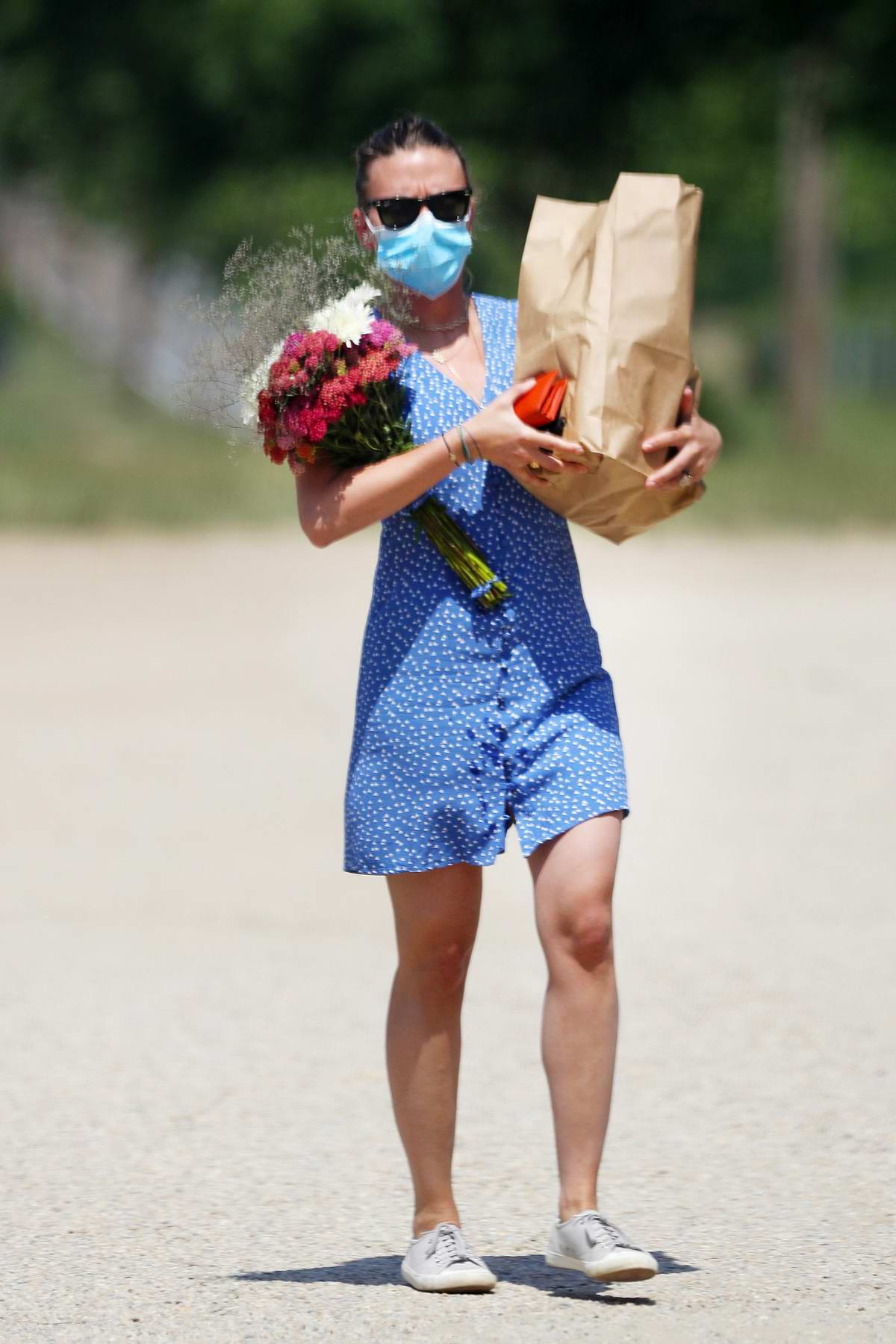 Scarlett Johansson picks up flowers and groceries at a farmer's market in The Hamptons, New York