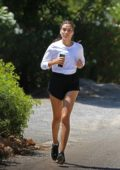 Shanina Shaik stays fit as she goes for a run while on vacation in Ibiza, Spain