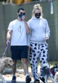 Sophie Turner keeps it comfy as while out to walk the dogs with Joe Jonas in Los Angeles
