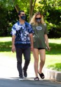 Sophie Turner wears an oversized tee and shorts while out on a stroll with Joe Jonas in Los Angeles