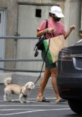 Vanessa Hudgens sports green bike shorts as she steps out to pick up some dog food with her pooch in Hollywood, California