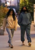 Addison Rae and Kourtney Kardashian are seen leaving dinner at Taverna Tony in Malibu, California