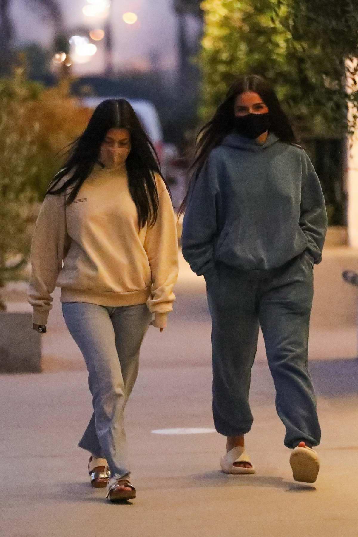 Addison Rae and Kourtney Kardashian are seen leaving dinner at Taverna Tony in Malibu, California