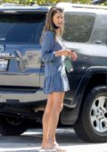Alessandra Ambrosio dons a blue mini dress as goes grocery shopping at Whole foods in Malibu, California
