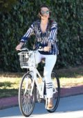Alessandra Ambrosio enjoys a bike ride with her daughter Anja in Brentwood, California