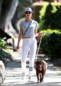 Alessandra Ambrosio enjoys some fresh air while taking her dog for a walk in Santa Monica, California