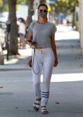 Alessandra Ambrosio looks casual yet trendy while visiting a nail salon in Santa Monica, California