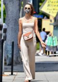 Alessandra Ambrosio looks chic in beige jumpsuit while out for some shopping with a friend in Santa Monica, California