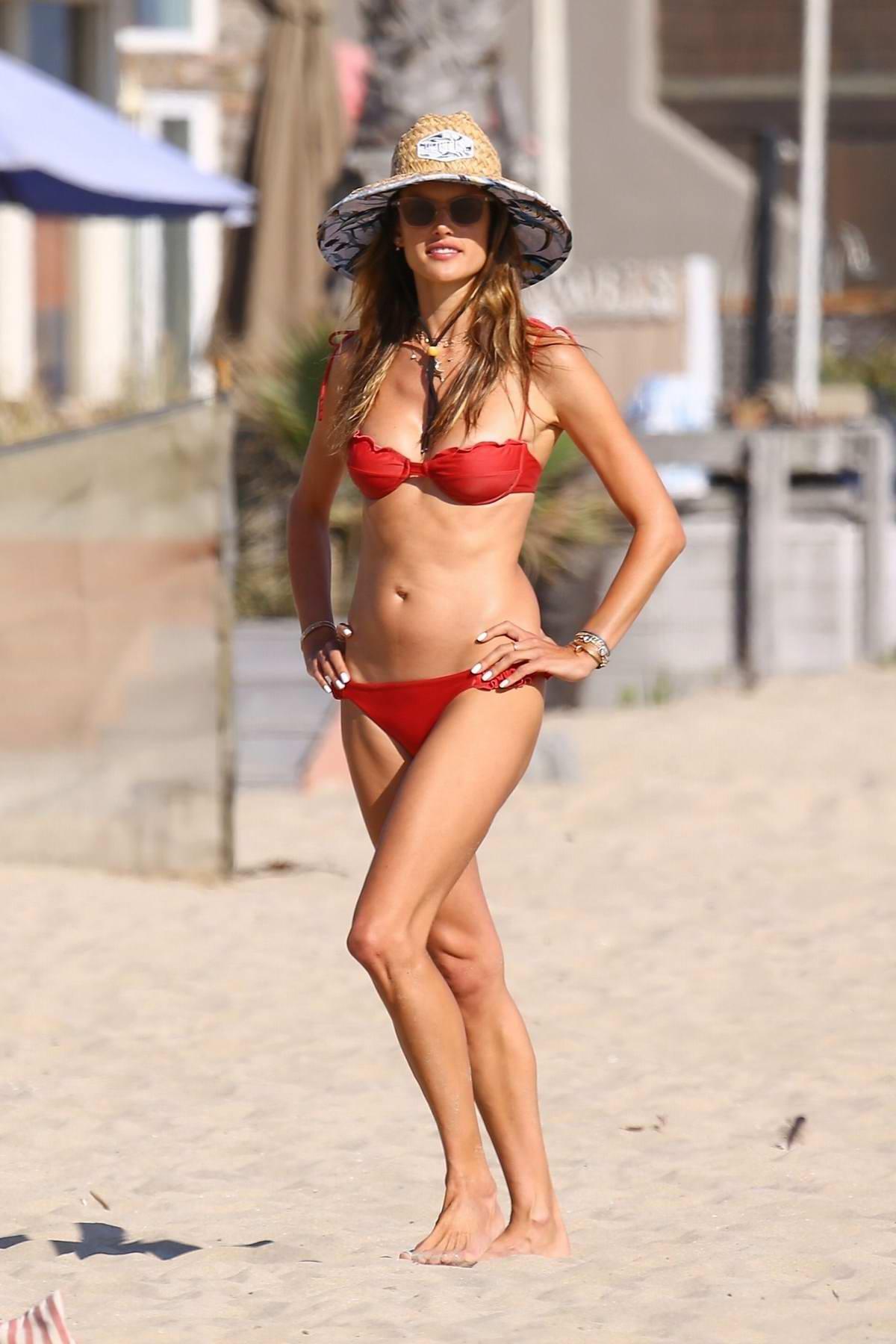 Alessandra Ambrosio looks incredible in a red bikini as she hits the beach in Marina del Rey, California