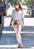 Alessandra Ambrosio sports a white sweatshirt and leggings as she hits the gym in Santa Monica, California