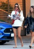 Alessandra Ambrosio sports an American flag sweater while out celebrating the 4th of July with friends in Malibu, California